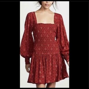 FREE PEOPLE TWO FACES PRINTED MINI DRESS RUBY M